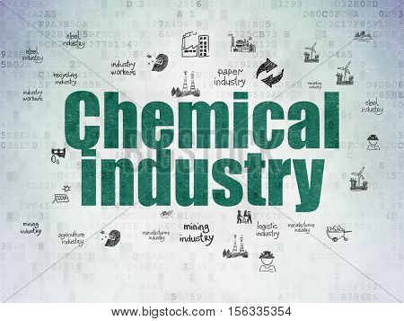 Industry concept: Painted green text Chemical Industry on Digital Data Paper background with  Hand Drawn Industry Icons