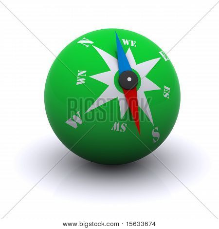 stylized green compass ball