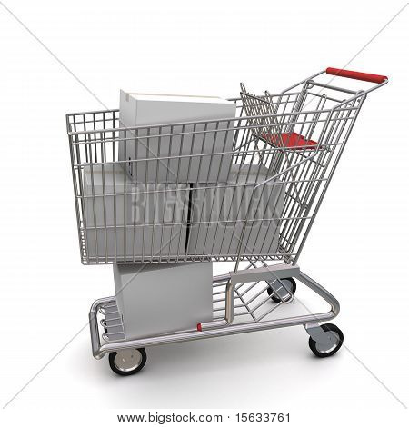 closed white cardboard box in the trolley