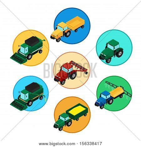 vector illustration. Set of agricultural icons. Farm tractor with a plow and a trailer. Tractor sprinkles planting insecticides. The harvester harvests. Isometric 3D