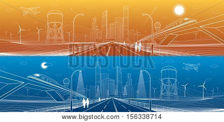 Infrastructure panorama. Highway, train traveling on bridges, business center, architecture and urban, neon city, wind turbines, water tower,  white lines, dynamic composition, vector design art