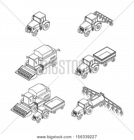 vector illustration. Set of outline agricultural icons. Farm tractor with a plow and a trailer. Tractor sprinkles planting insecticides. The harvester harvests. Isometric 3D