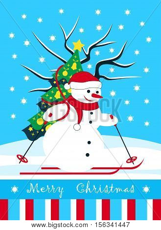 vector christmas card with snowman skier carrying christmas tree in snowy landscape