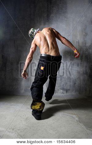 Leaving and falling krump style dancer