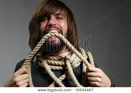 The man with a rope on a neck