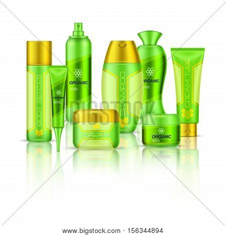 Cosmetics 3d composition in green color with body products of different series and their reflection vector illustration