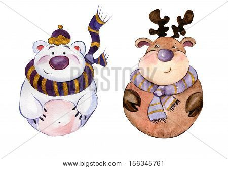 Rounded funny polar bear and caribou wearing purple scarfs with golden details on white background. Hand drawn watercolor painting. Can be used for Christmas and New year illustrations greeting cards.