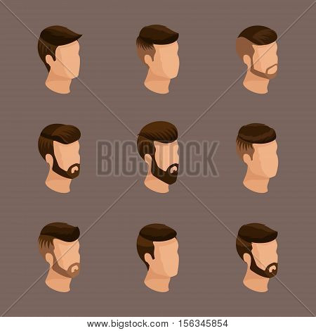 Popular isometrics men's hairstyles hipster style. Laying beard mustache. Modern stylish hairstyle young people fashion business qualitative study. Vector illustration.
