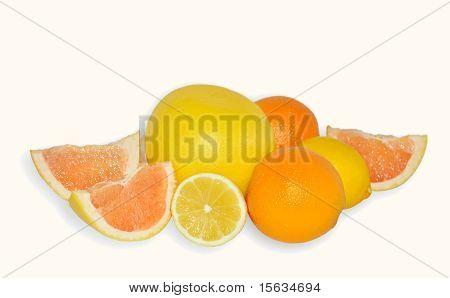 Orange Fruit, Yellow Grapefruit And Lemon