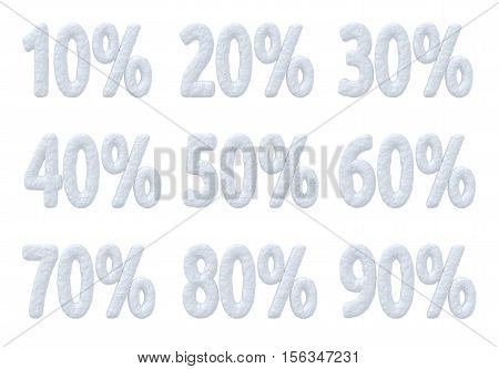 Winter retail sale commercial and business advertisement creative abstract concept christmas sale discount offer snowy special percent price cut off text made of snow isolated on white collection