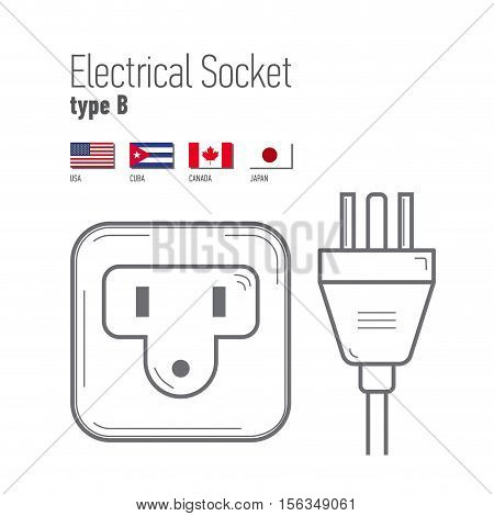 Switches and sockets set. Type B. AC power sockets realistic illustration. Different type power socket set vector isolated icon illustration for different country plugs.