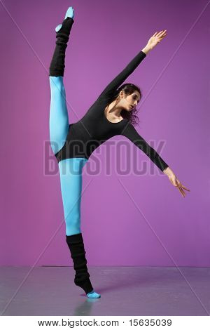 cool girl jumping on the magenta background