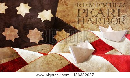 Remember Pearl Harbor. Flag Waves on Wood and Paper Boat