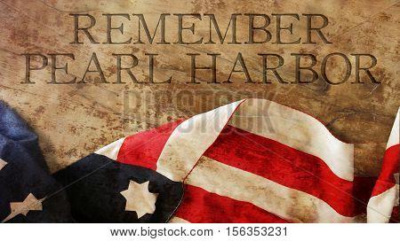 Remember Pearl Harbor. Usa Flag on Wood