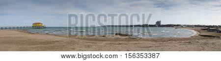 BAKU AZERBAIJAN - JULY 12 2016: Caspian Sea beatch and Jumeirah Bilgah Beach Hotel. Baku Azerbaijan