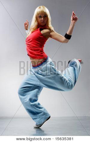 young stylish woman dancing modern balet dance