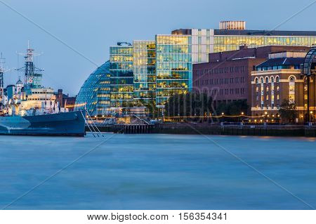 London Cityscape Seen From River Thames