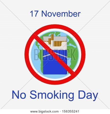 World No Smoking Day. 17 November. Flat vector illustration