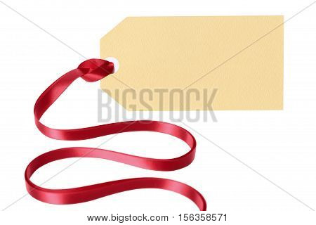 Plain Blank Gift Tag Or Manila Label With Ribbon Isolated On White Background