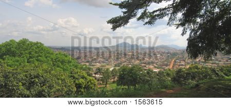 African City In Tropical Mountains, Cameroon, Africa, Panorama
