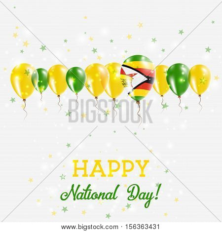 Zimbabwe Independence Day Sparkling Patriotic Poster. Happy Independence Day Card With Zimbabwe Flag