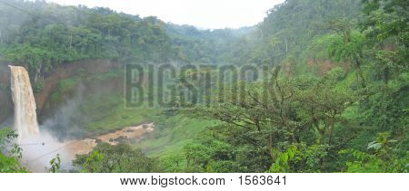 Big Waterfall In The Tropical Jungle, Cameroon, Africa, Panorama