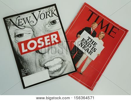 BROOKLYN, NEW YORK - NOVEMBER 13, 2016: New York and Time magazines issued before 2016 Presidential election on display in Brooklyn, New York after Election Day 2016