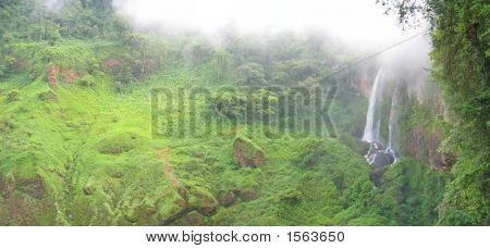 High Waterfall In The Tropical Jungle, Cameroon, Africa, Panorama