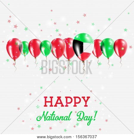 Kuwait Independence Day Sparkling Patriotic Poster. Happy Independence Day Card With Kuwait Flags, C