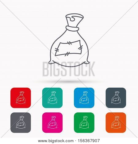 Bag with fertilizer icon. Fertilization sack sign. Farming or agriculture symbol. Linear icons in squares on white background. Flat web symbols. Vector
