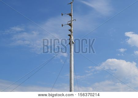 The Spire Of A Warship Mast. Antennas For Communications