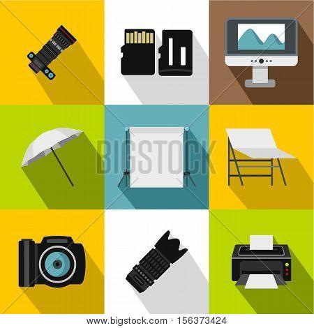 Photo icons set. Flat illustration of 9 photo vector icons for web