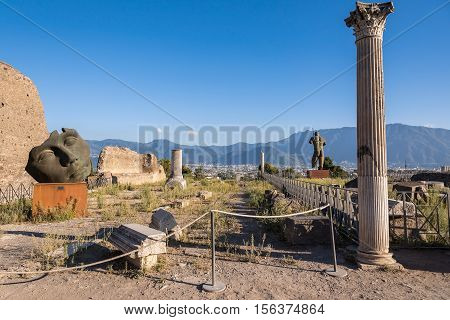 Pompeii Italy - August 29 2016: Artworks of Polish sculptor Mitoraj in Pompeii the ancient Roman city destroyed during a catastrophic eruption of the volcano Mount Vesuvius in 79 AD.