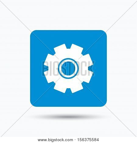 Cogwheel icon. Repair service symbol. Blue square button with flat web icon. Vector