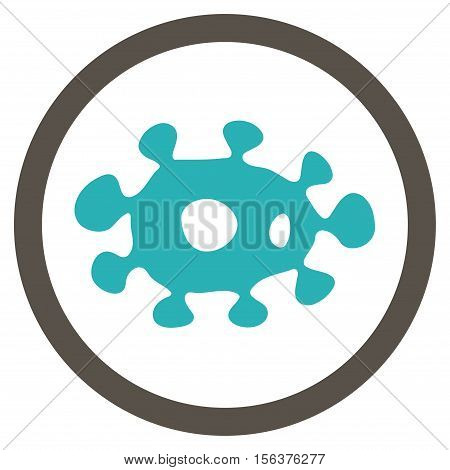 Virus vector bicolor rounded icon. Image style is a flat icon symbol inside a circle, grey and cyan colors, white background.