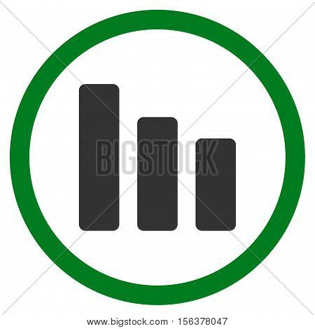 Bar Chart Decrease vector bicolor rounded icon. Image style is a flat icon symbol inside a circle, green and gray colors, white background.