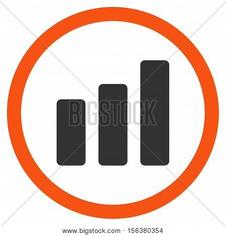 Bar Chart Increase vector bicolor rounded icon. Image style is a flat icon symbol inside a circle, orange and gray colors, white background.