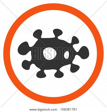 Virus vector bicolor rounded icon. Image style is a flat icon symbol inside a circle, orange and gray colors, white background.
