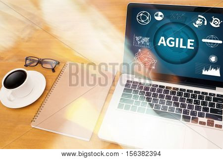 AGILE Agility Nimble Quick Fast Concept agile, agilely, agileness, agility, analysis, browsing, businessman, coffee,
