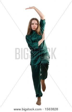 Young Girl Training Martial Arts
