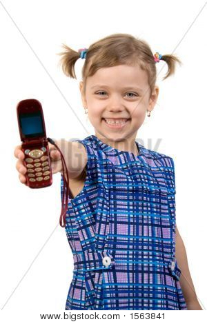 Little Pretty Girl Show Mobile Phone