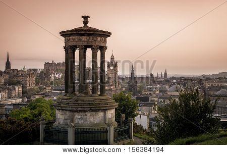 Edinburgh City and Castle Scotland viewed from Calton Hill