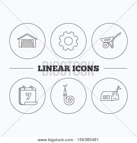 Mailbox, garage and fire hose icons. Trolley linear sign. Flat cogwheel and calendar symbols. Linear icons in circle buttons. Vector