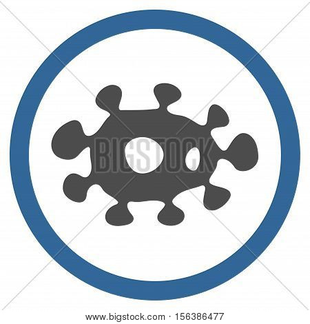 Virus vector bicolor rounded icon. Image style is a flat icon symbol inside a circle, cobalt and gray colors, white background.