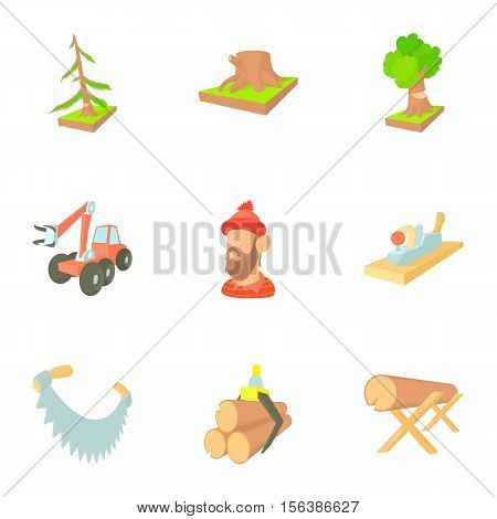 Woodcutter icons set. Cartoon illustration of 9 woodcutter vector icons for web
