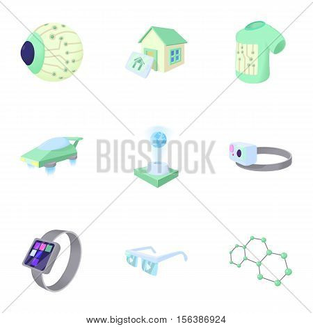 Latest electronic devices icons set. Cartoon illustration of 9 latest electronic devices vector icons for web