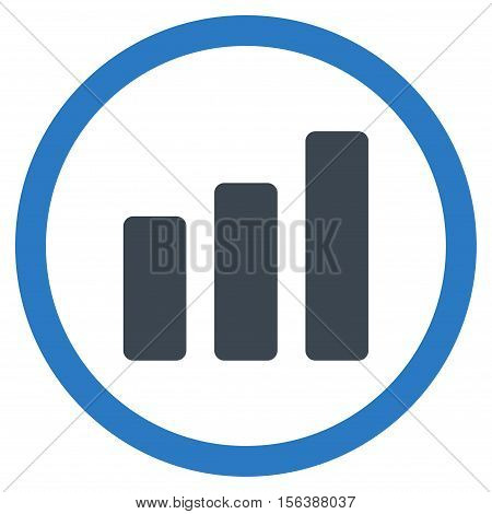 Bar Chart Increase vector bicolor rounded icon. Image style is a flat icon symbol inside a circle, smooth blue colors, white background.