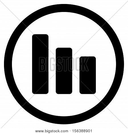 Bar Chart Decrease vector rounded icon. Image style is a flat icon symbol inside a circle, black color, white background.