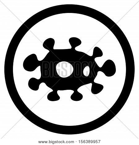 Virus vector rounded icon. Image style is a flat icon symbol inside a circle, black color, white background.