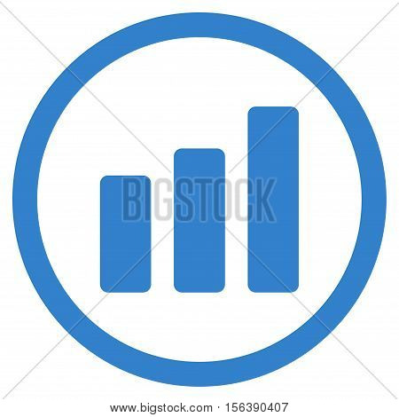 Bar Chart Increase vector rounded icon. Image style is a flat icon symbol inside a circle, cobalt color, white background.